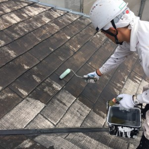 1屋根下塗り