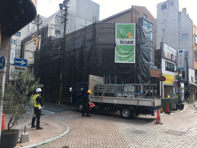 浜松市 街中での外壁塗装工事